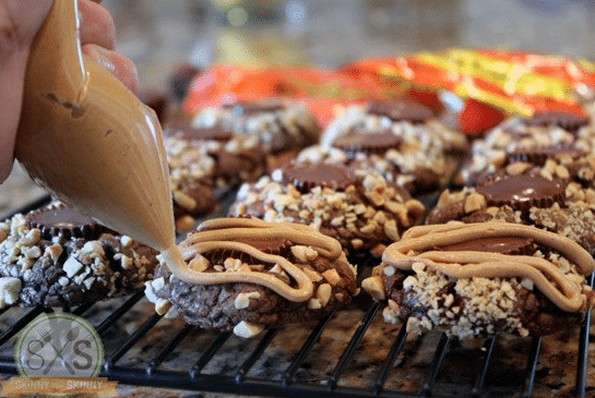 drizzling peanut butter on cookies