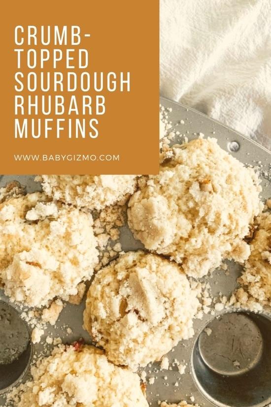 Crumb-Topped Sourdough Rhubarb Muffins
