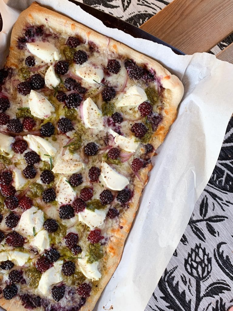 three cheese blackberry pesto pizza