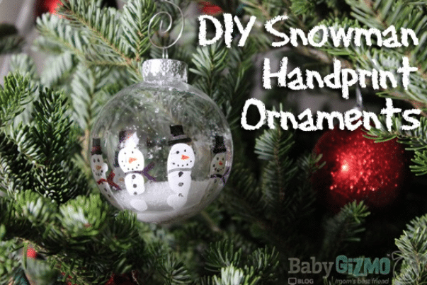 DIY Snowman Handprint Ornaments