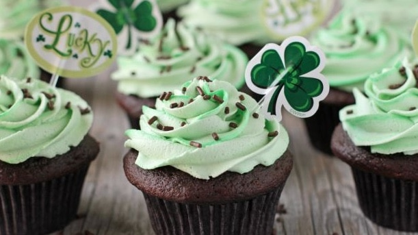 chocolate cupcakes with green frosting