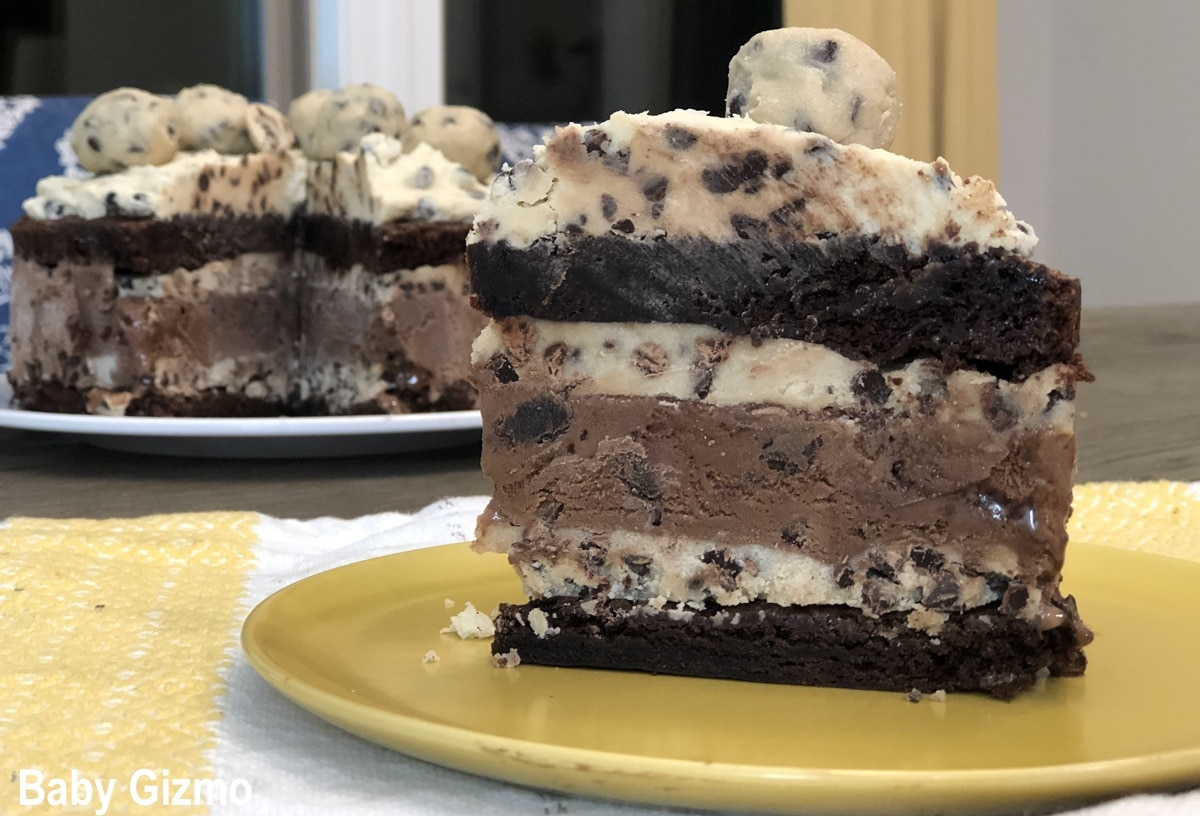 slice of layered ice cream cake
