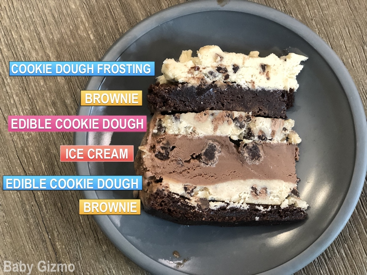 layers of ice cream cake labeled on grey plate