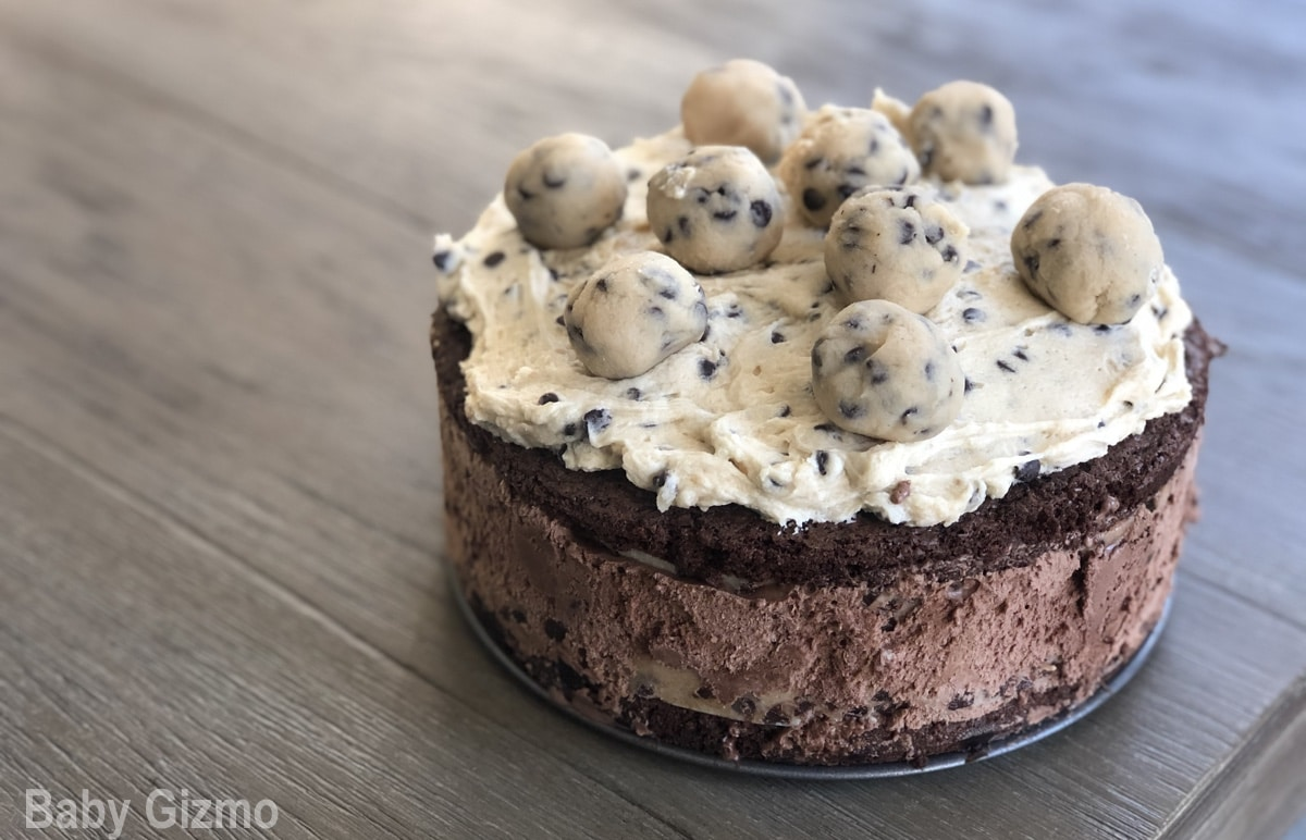 Brownie cookie dough cake on grey table