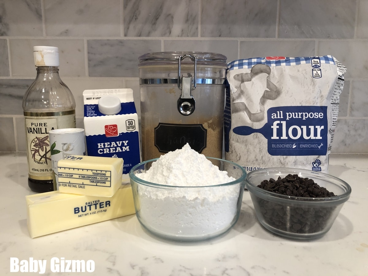 ingredients for a cookie dough frosting