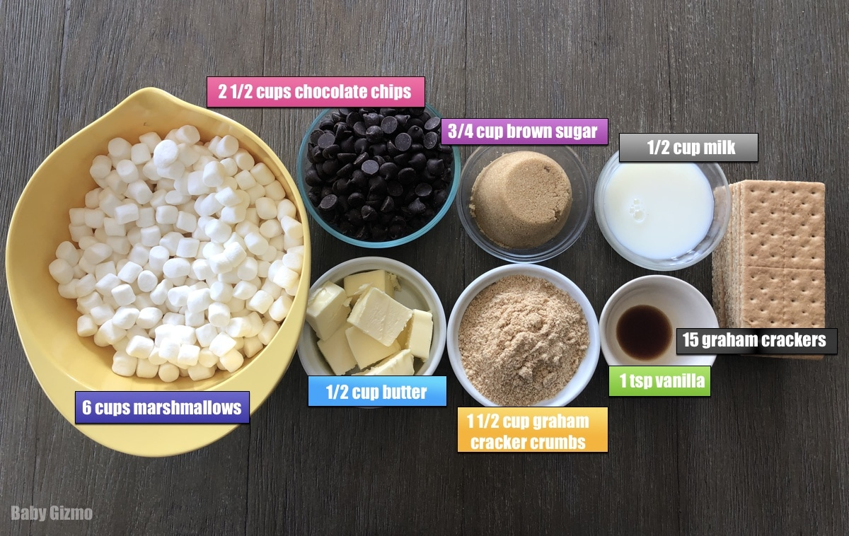 Smores Bars ingredients on a table