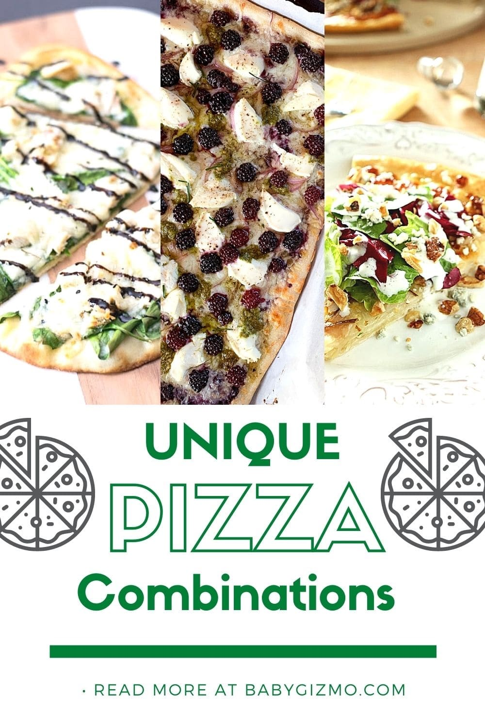 three different pizza combinations