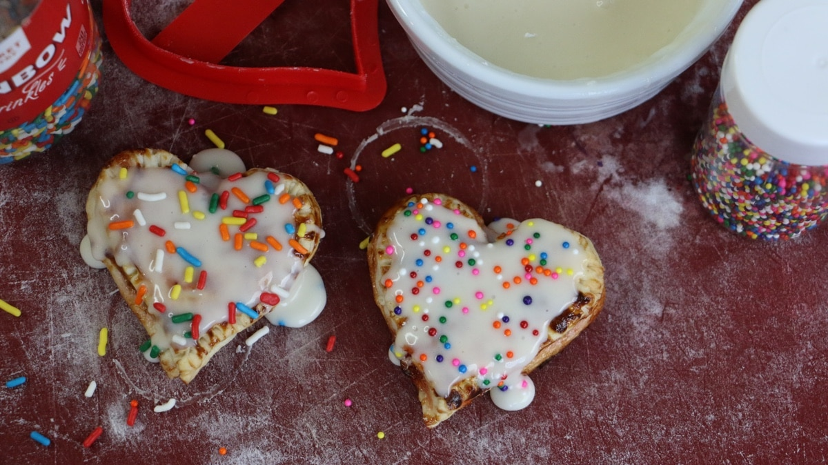pop tart hearts on a cutting board
