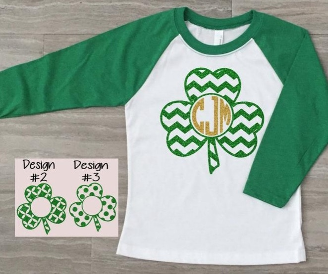 green monogrammed st. patricks day shirt