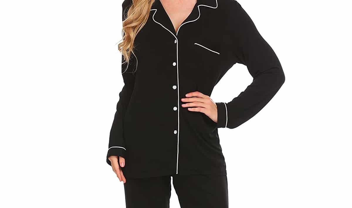 black button down pajamas