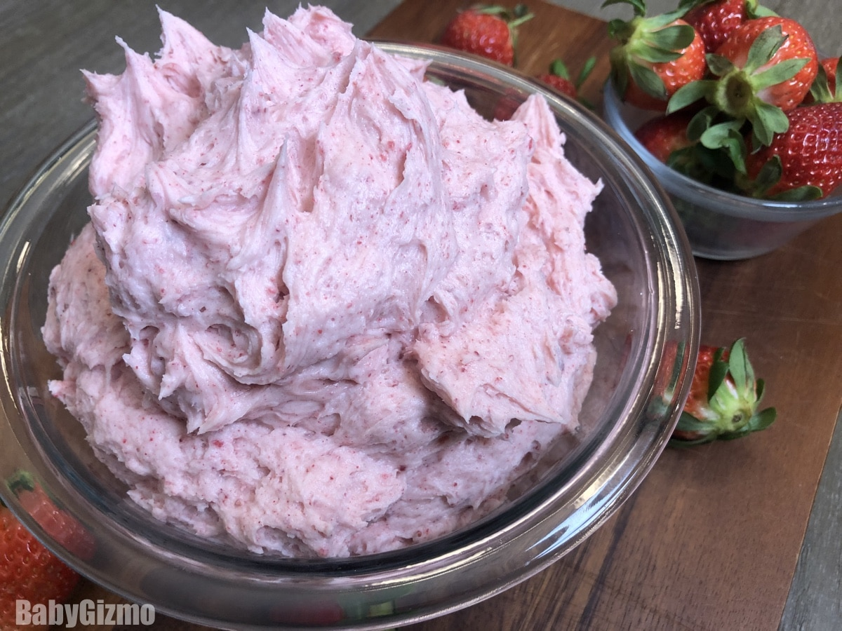 Strawberry Buttercream Frosting in Bowl