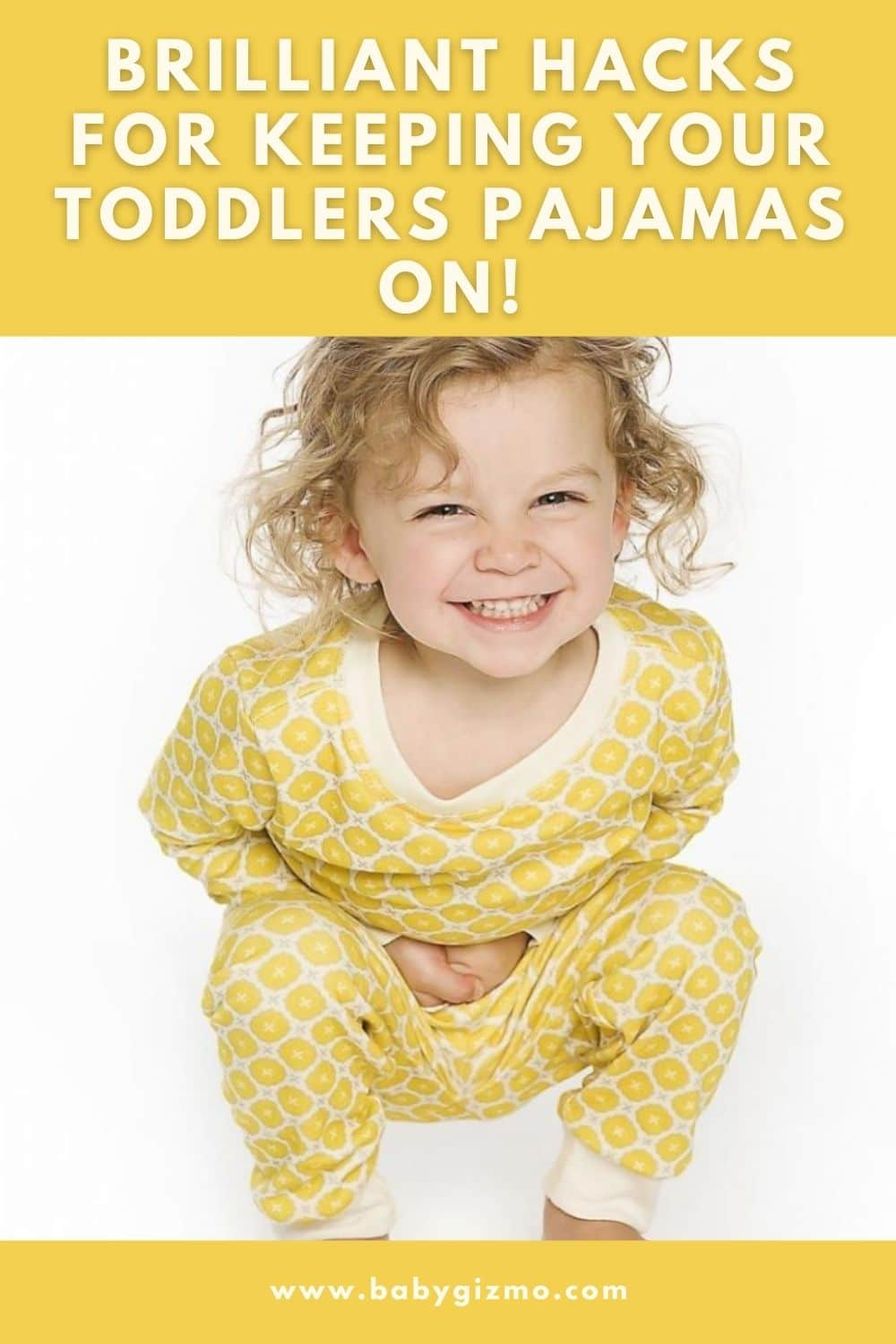 Adorable toddler in yellow pjs