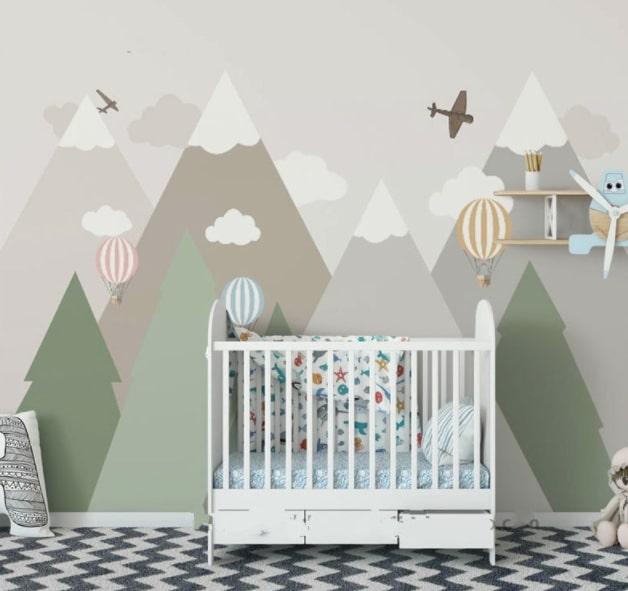 wall mural in a nursery