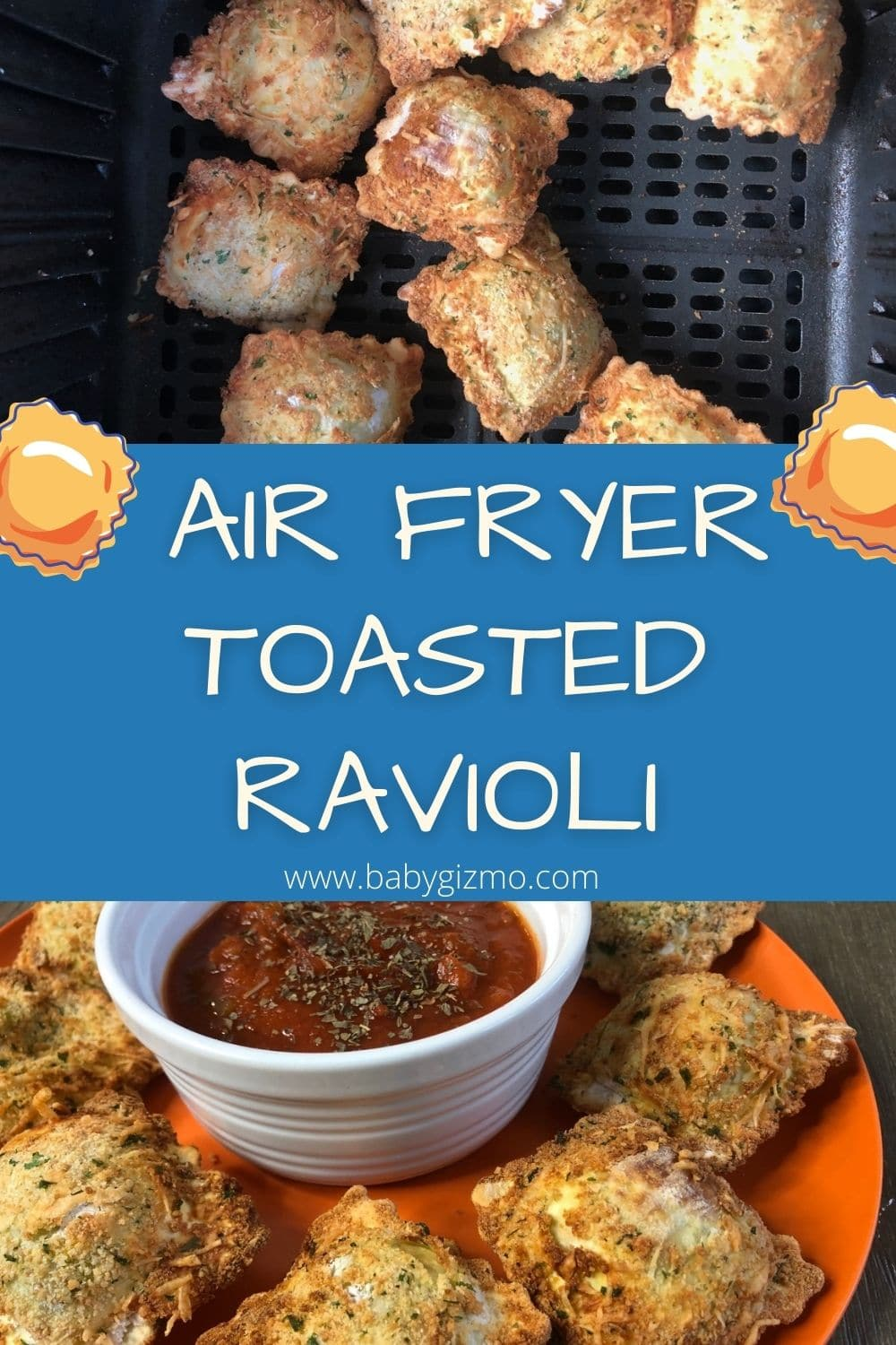 AIR FRYER TOASTED RAVIOLI ON PLATE AND IN AIR FRYER