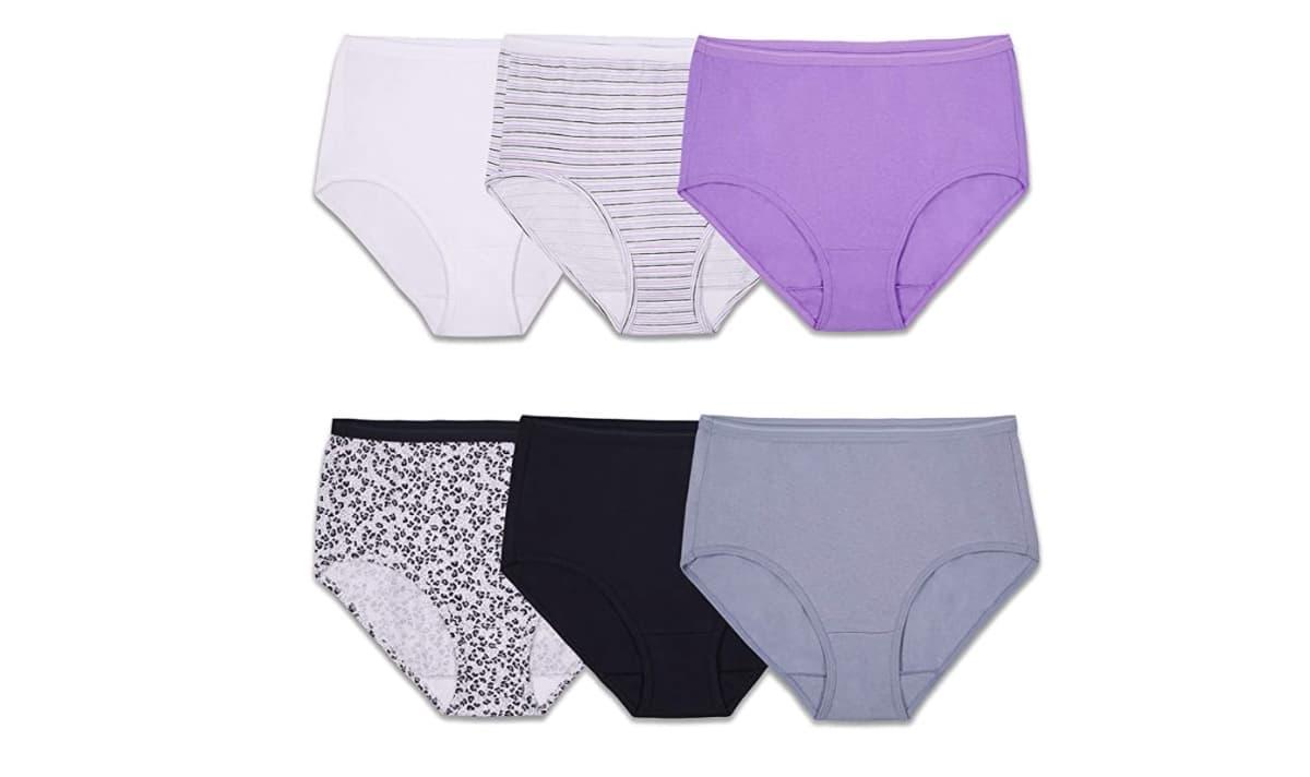 6 pairs of ladies underwear on white background
