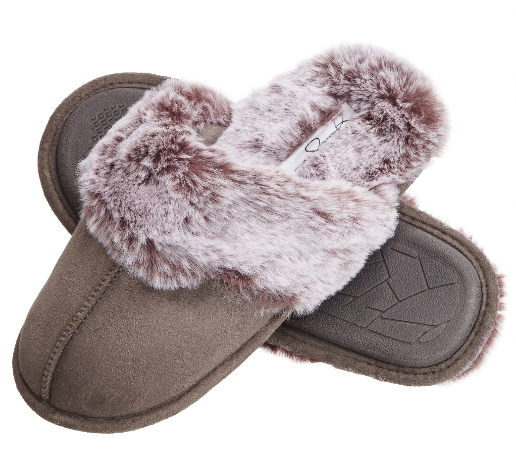 grey fuzzy slippers on white background
