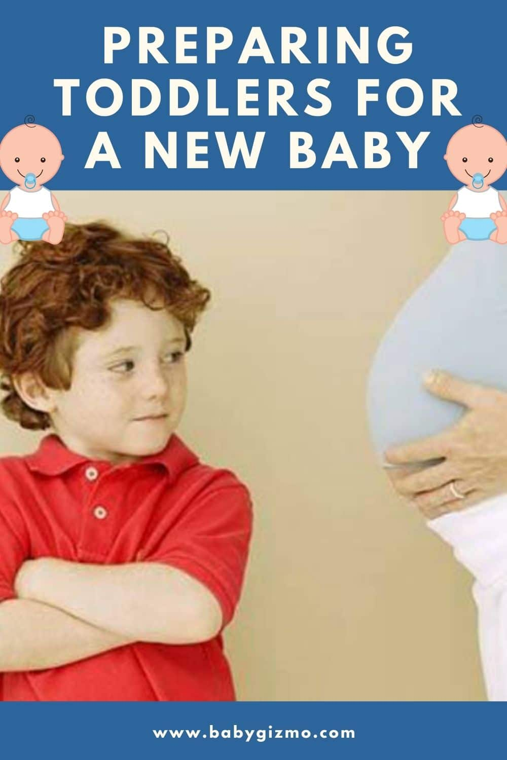 toddler looking at mom's pregnant belly