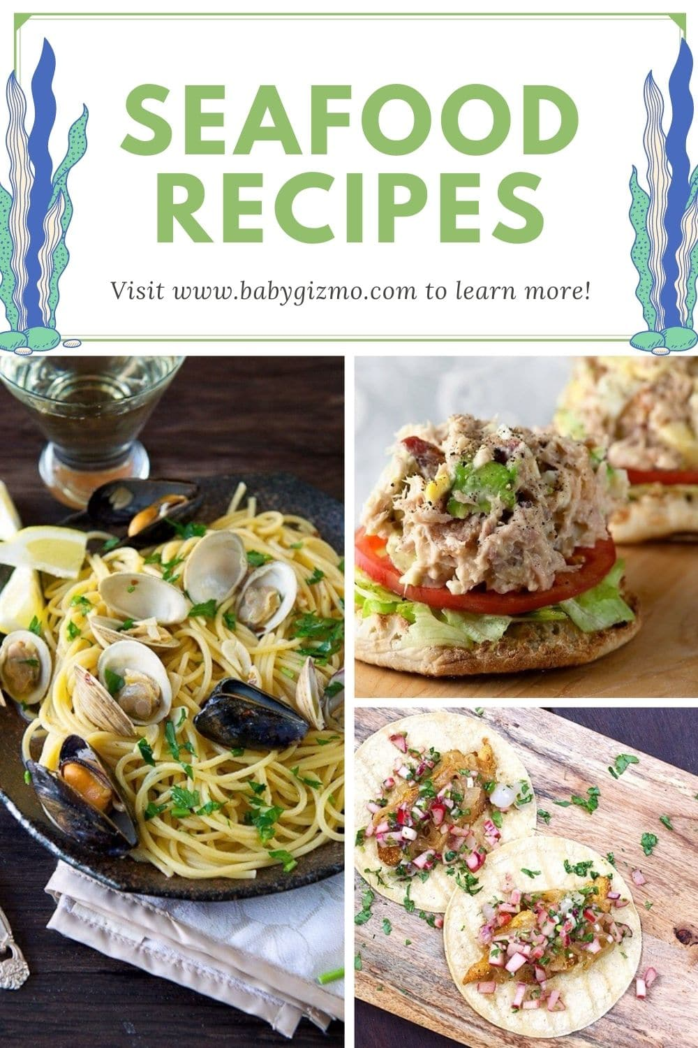 collage of three seafood recipes