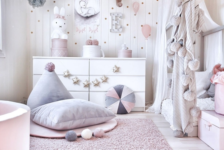 toddler room with pinks and greys