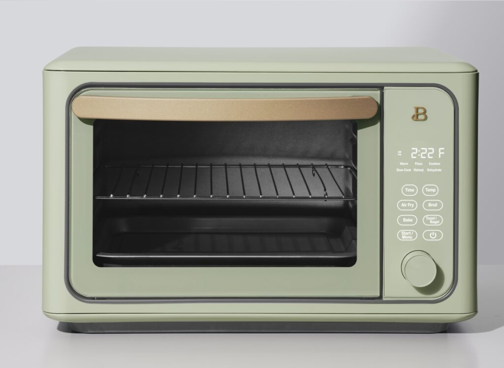sage green toaster oven drew barrymore kitchen appliances