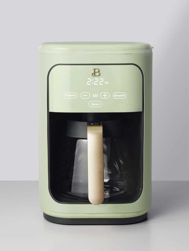 sage green coffee maker drew barrymore kitchen appliances