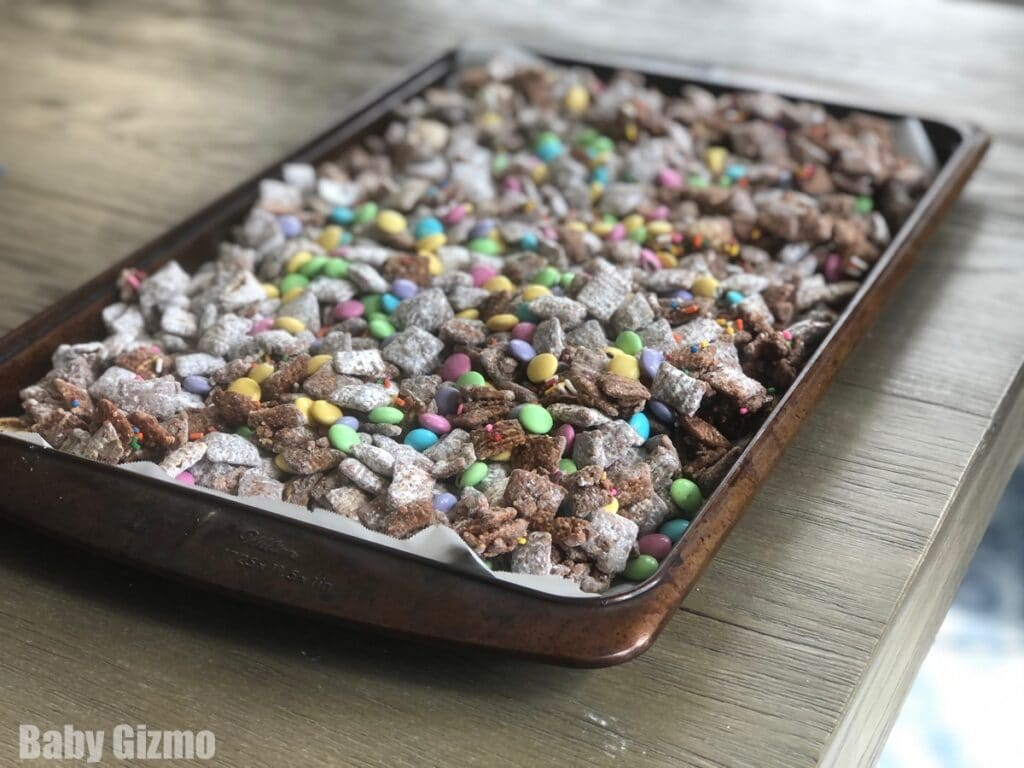 Chex Mix on a Tray