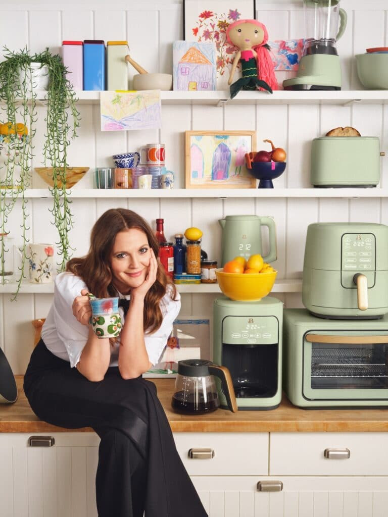 drew barrymore with beautiful kitchenware appliances