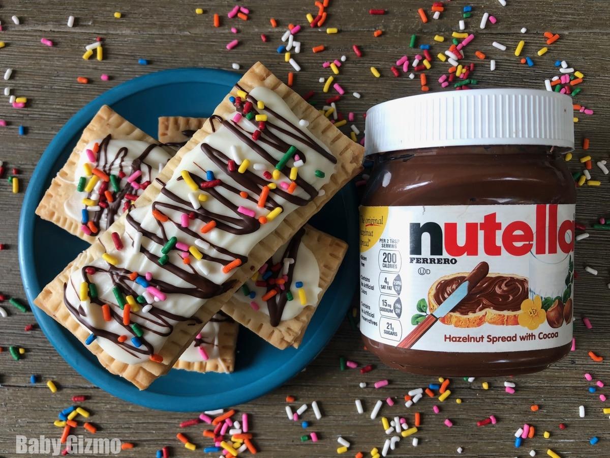 Three Nutella Pop Tarts Stacked next to nutella jar