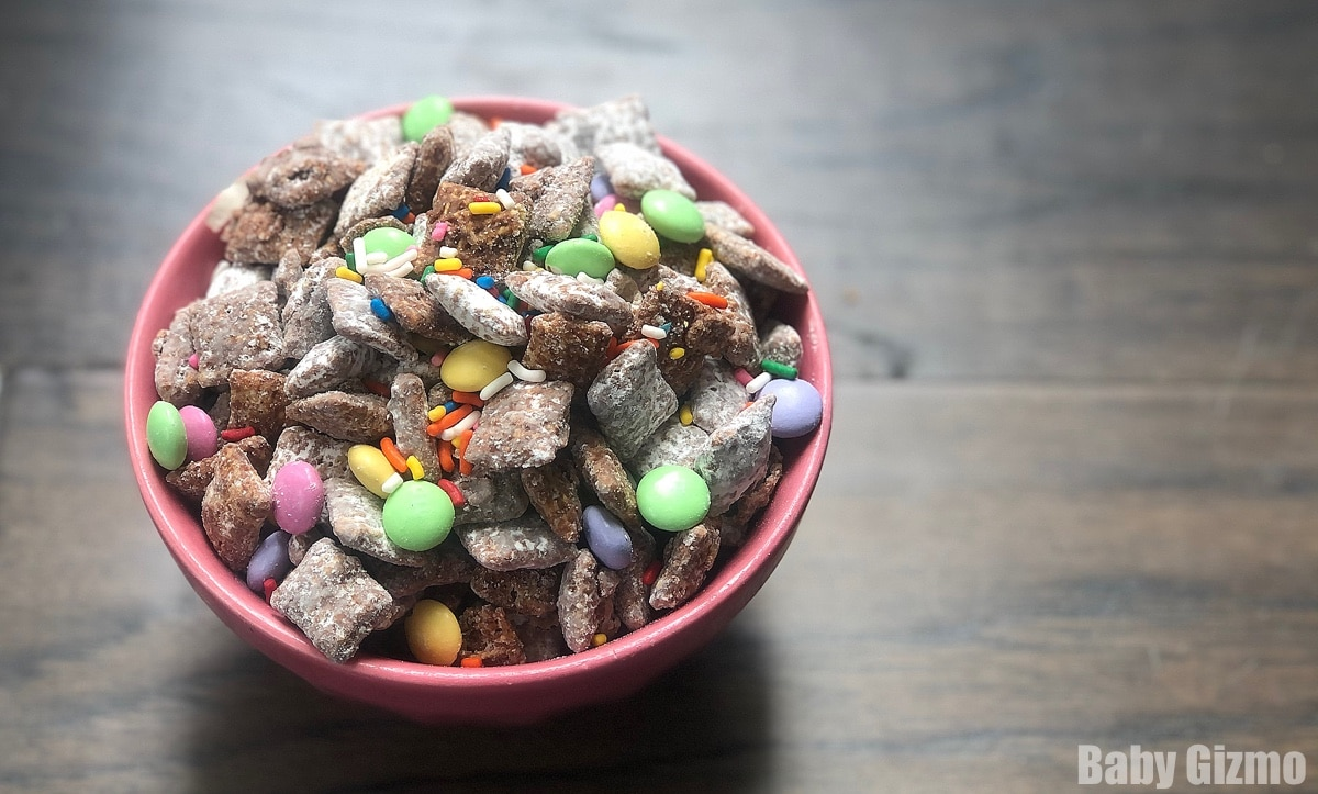 Spring Puppy Chow in pink bowl