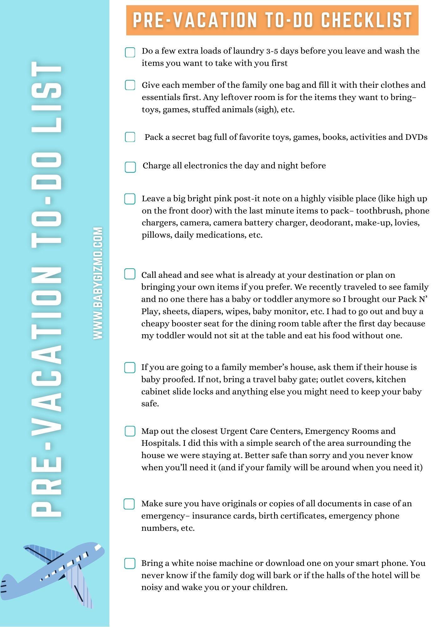 pre-vacation checklist printable