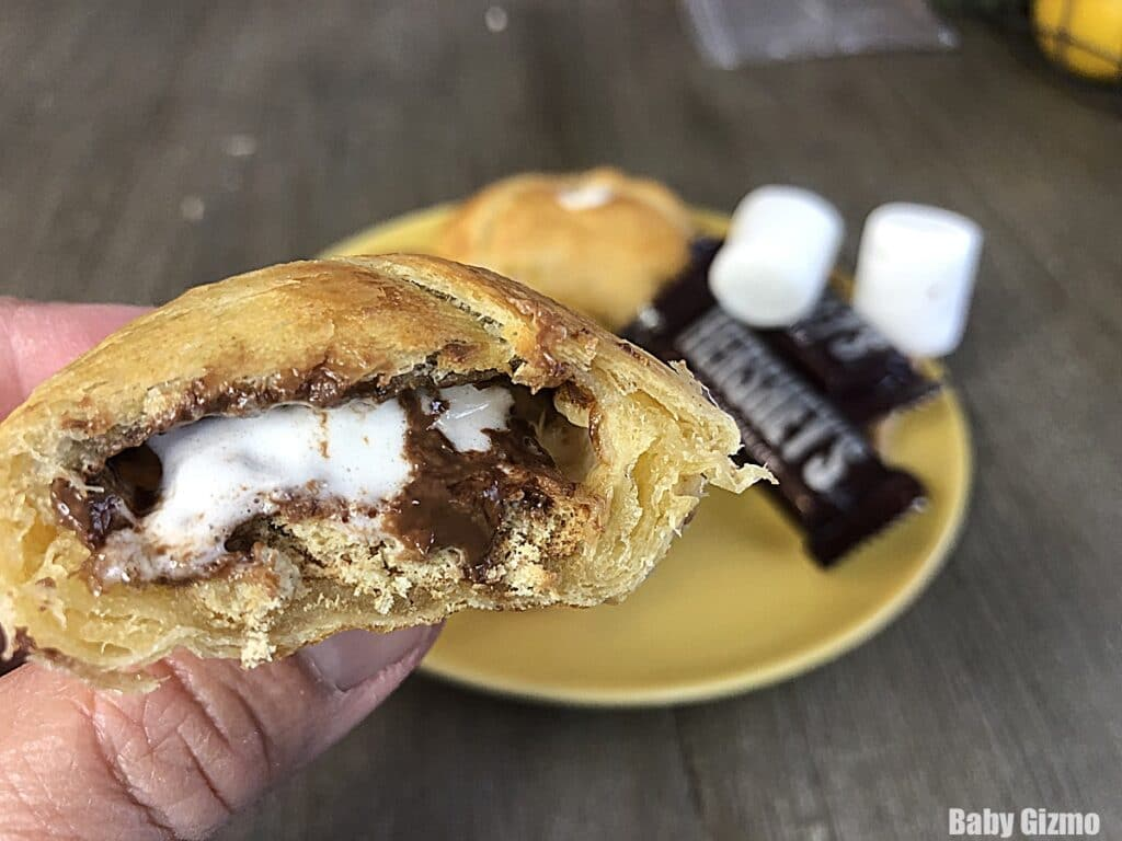 smores crescent roll bombs cut open
