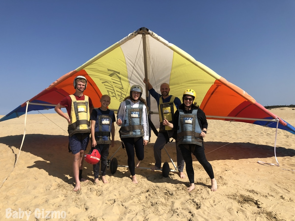family hang gliding