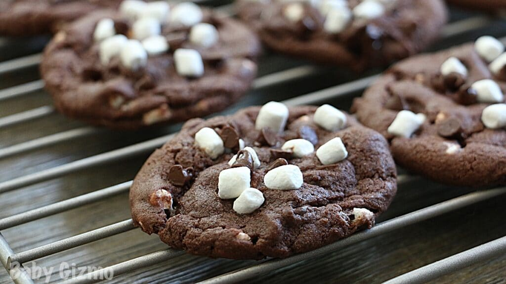 Hot Cocoa Cookies cooling
