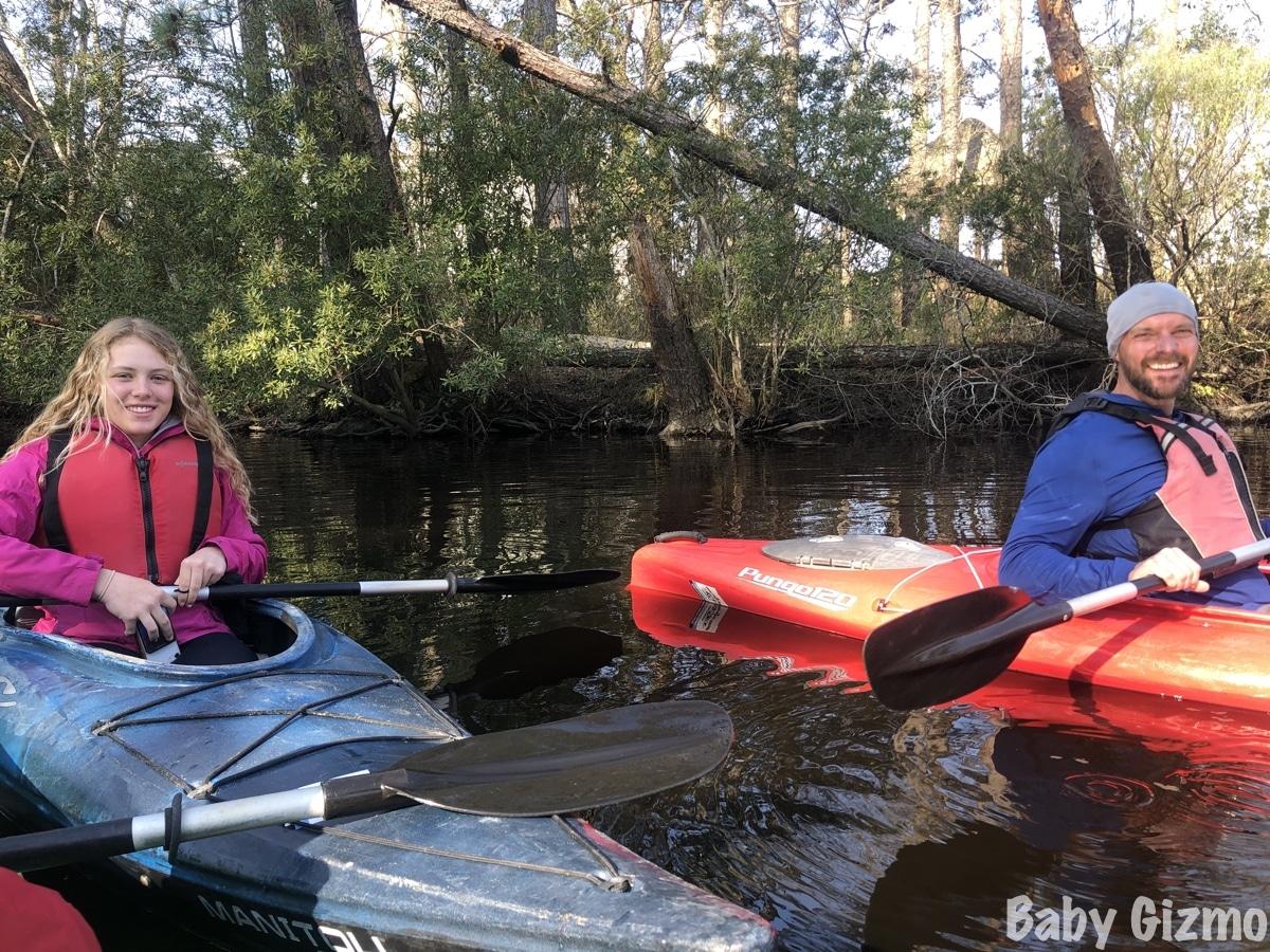 dad and teen daughter kayaking