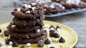Hot Chocolate Cookies in a stack