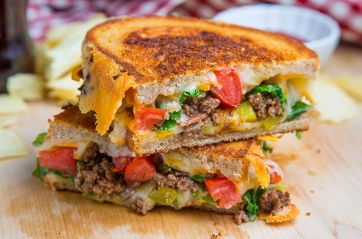 Double bacon cheeseburger grilled cheese