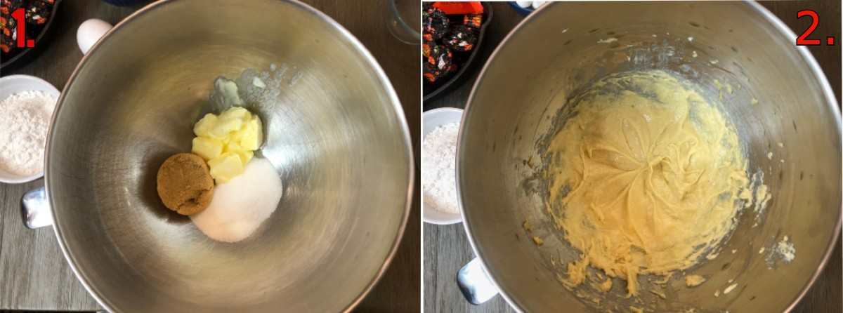 Butter and sugars in a metal mixing bowl