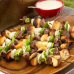 cheesesteak kabobs on the grill