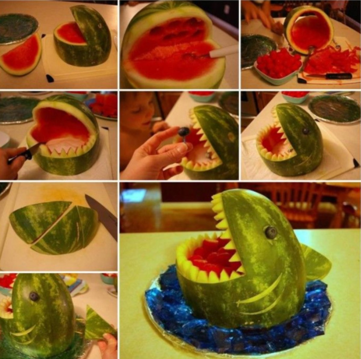shark out of a watermelon