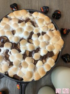 smores cookie dessert in a cast iron skillet