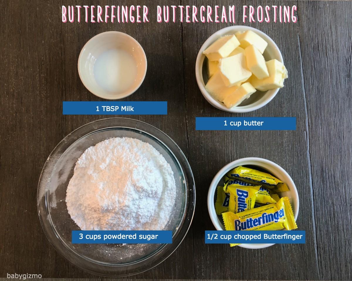 Butterfinger Buttercream Frosting ingredients