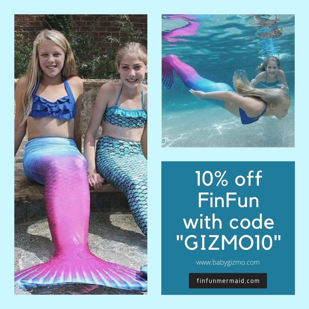 girls swimming with mermaid tails