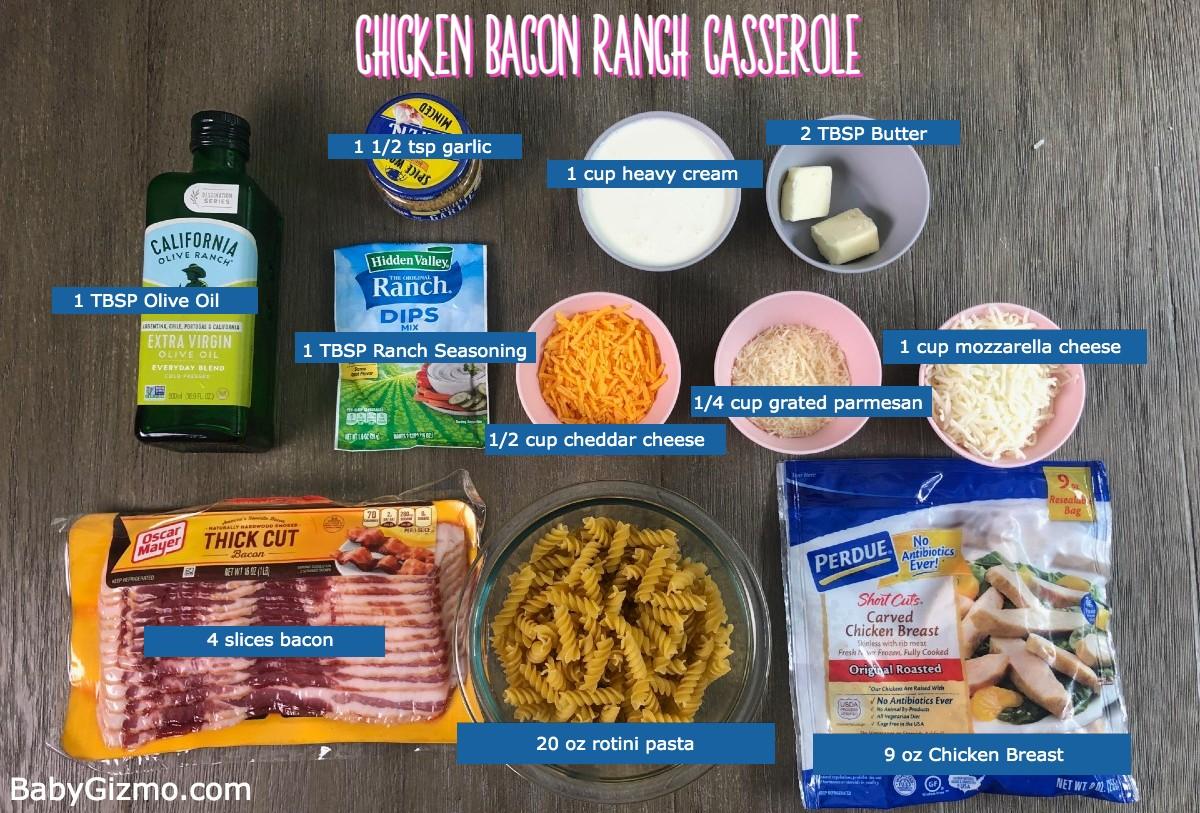 chicken bacon ranch casserole ingredients