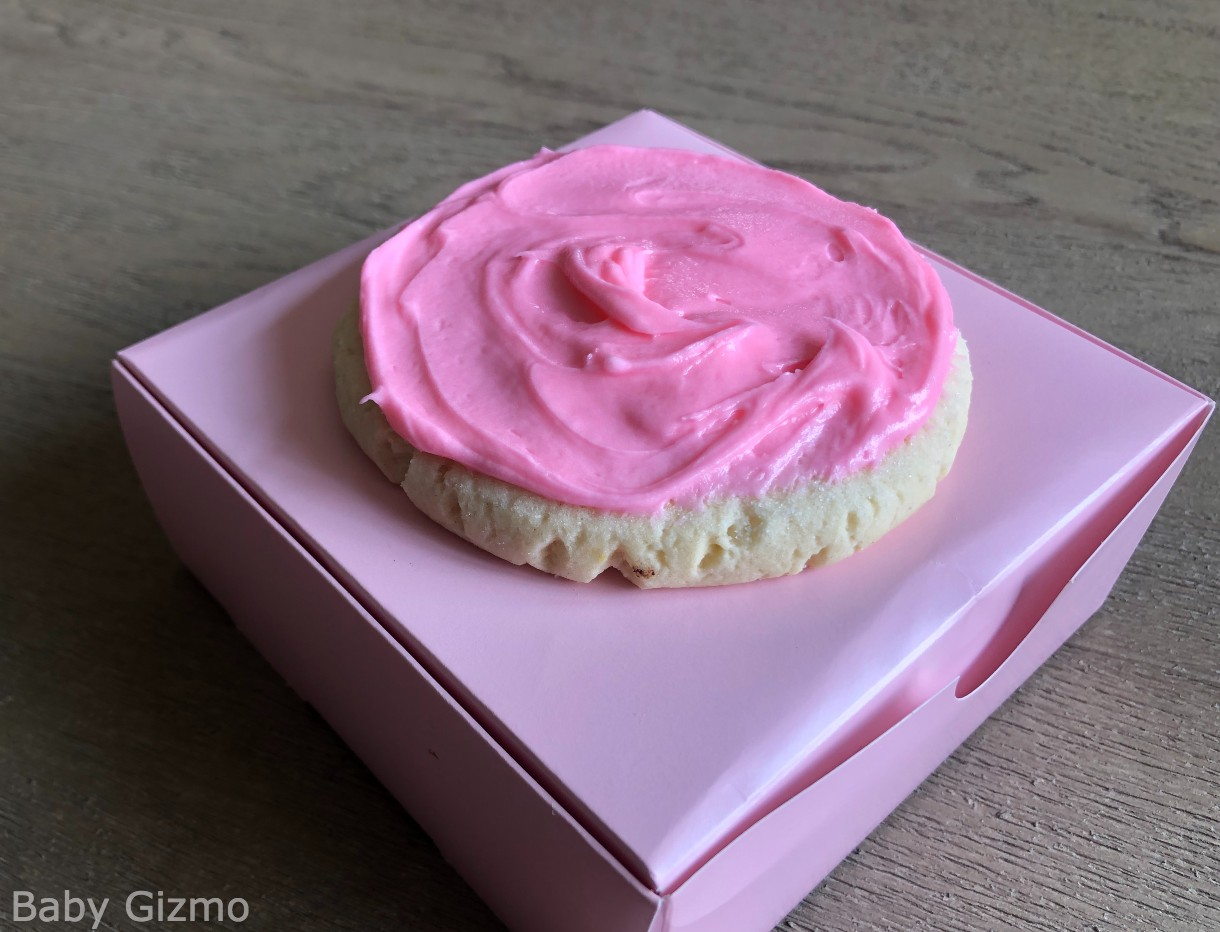Chilled sugar cookie on crumbl box