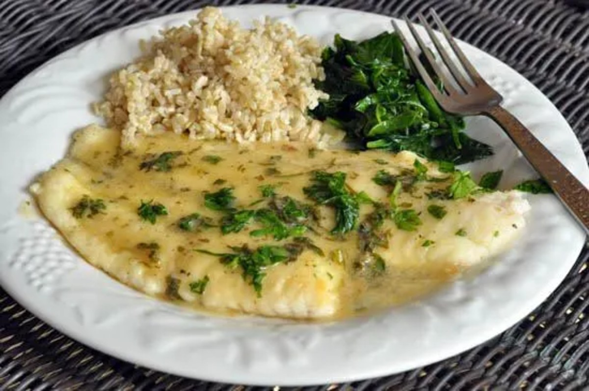 Fillet of sole with lemon, butter, parsley sauce