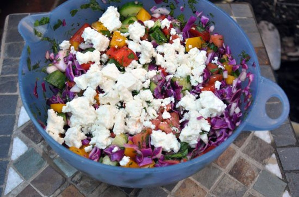 Hearty and Delicious Red Cabbage and Feta Chopped Veggie Salad in a blue bowl