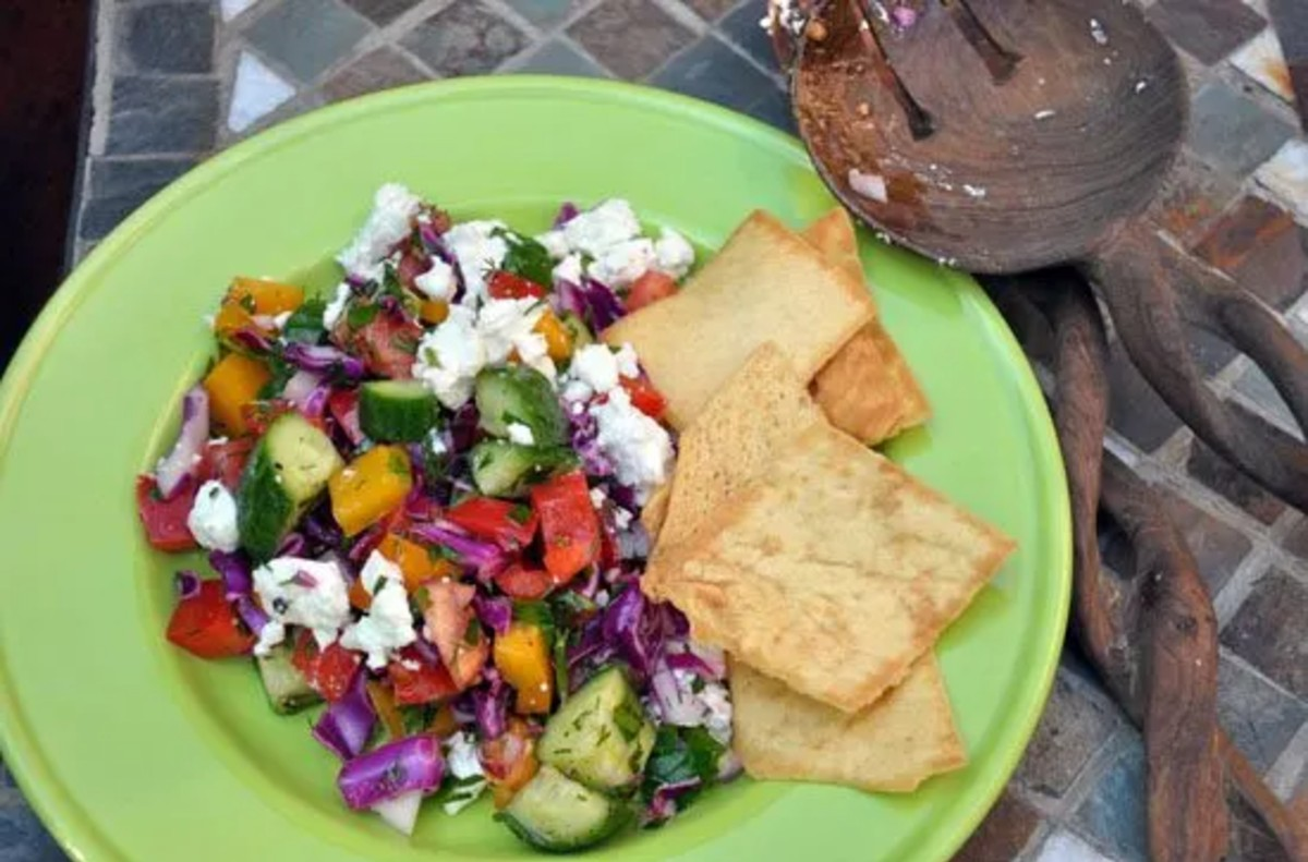 Hearty and Delicious Red Cabbage and Feta Chopped Veggie Salad on a green plate