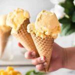mango ice cream in a cone
