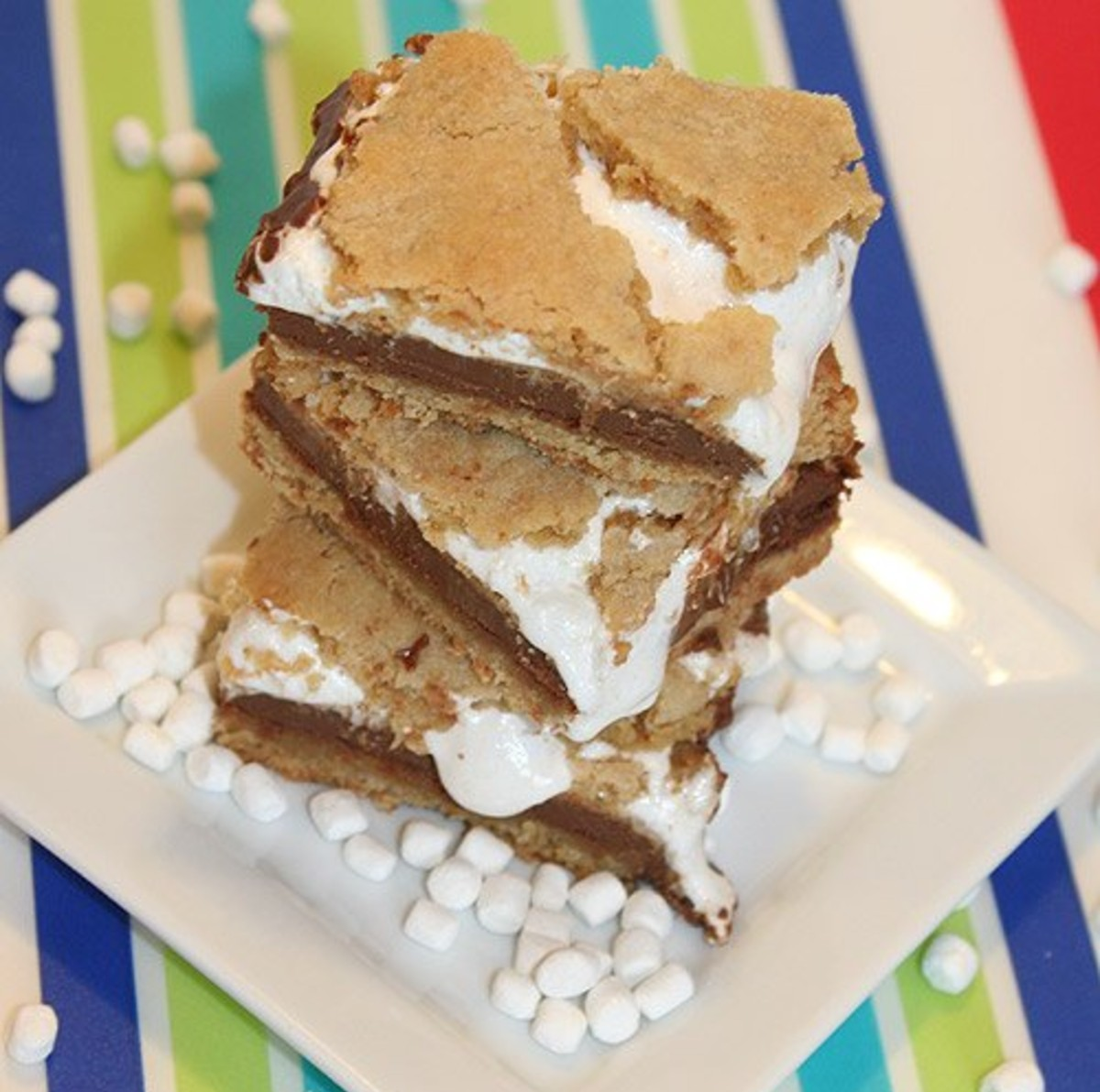 3 peanut butter s'mores bars stacked on each other