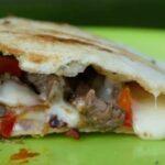 pie iron cheesesteak sandwich